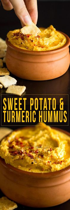 Dreamy Creamy Turmeric Sweet Potato Dip Baked sweet potato with cannelini beans, tahini, garlic and spices to make the most delicious creamy dip. Sweet Potato Hummus, Sweet Potato Recipes, Rutabaga Recipes, Watercress Recipes, Whole Food Recipes, Cooking Recipes, Qinuoa Recipes, Cooking Videos, Jucing Recipes