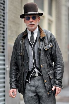 Nick Wooster wearing Black Leather Bomber Jacket, Grey Wool Blazer, Black and White Cardigan, White Dress Shirt Dress Shirt And Tie, Dress With Cardigan, Cardigan Fashion, Black Cardigan, Dress Pants, Suit Pants, Nick Wooster, Black Leather Bomber Jacket, Camo Jacket
