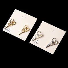 2016 thiết kế mới thời trang đơn giản vàng và mạ bạc nhỏ hình cắt kéo stud bông tai cho phụ nữ đồ trang sức phụ kiện bán buôn