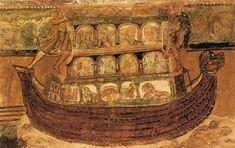 Noah's Ark by a FRENCH ROMANESQUE PAINTER c.1100 Fresco located in the Abbey Church,  Saint-Savin-sur-Gartempe