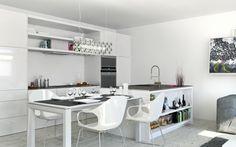 küche weiße einrichtung esstisch kücheninsel elegant