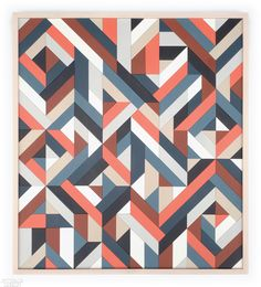 With a background in graphic design, Brooklyn-based artist Scott Albrecht creates abstract works in painted wood that draw on typographic forms and the techniques of visual communication. Geometric Artists, Geometric Painting, Geometric Patterns, Geometric Designs, Large Wall Canvas, Abstract Words, Art Forms, Design Elements, Decoration