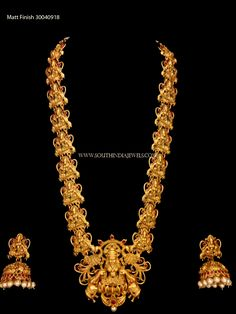 Gold Plated Long Lakshmi Necklace with Jhumka ~ South India Jewels Gold Haram Designs, Gold Earrings Designs, Necklace Designs, Vaddanam Designs, Gold Designs, Antique Jewellery Designs, Gold Jewellery Design, Gold Jewelry, Antique Jewelry