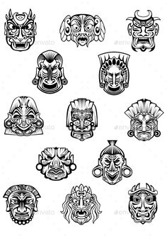 Ceremonial Masks by seamartini Ritual ceremonial carved masks in traditional african tribal style with different emotion expressions for avatars or historical co Tiki Tattoo, Mask Tattoo, Tattoo Set, Body Art Tattoos, Tribal Tattoos, Nouveau Tattoo, African Tattoo, Mask Drawing, Tiki Totem