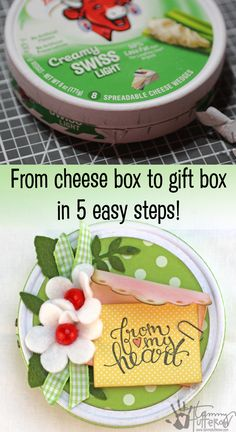 Turn a Laughing Cow Cheese box into a quick and easy gift box in just 5 steps!  Full step-by-step tutorial!  #crafts #upcycle #laughingcow #giftbox #diy