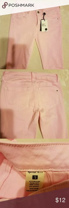 """NWT, Special A brand pink skinny jeans NWT, tag says size 5 but fits as a size 3  Inseam 28"""" Rise 7.5 """" Waist straight across 13.5"""" Jeans Skinny"""