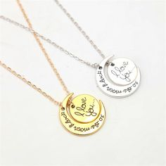 Love Necklace Round Pendants Vintage Gold Silver Plated Moon Pendant Necklaces Jewelry for Women Fashion Valentine's Day Gift