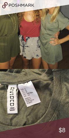 H&M green t shirt dress On right, t shirt dress worn once, shrunk a little in wash, I'm 5'4 wearing it H&M Dresses Mini
