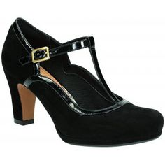 A platform heel gives these T-bar women's shoes a lift while a glossy trim, buckle detailing and a round toe add subtle vintage touches. Made from soft Black suede, they are the perfect shoe to take you from the office to evening drinks and also feature an ultra-wearable 7.5cm block heel, breathable leather sock and Clarks Plus underfoot cushioning for supreme comfort and stability. http://www.marshallshoes.co.uk/womens-c2/clarks-ladies-chorus-tempo-black-suede-shoes-p2715
