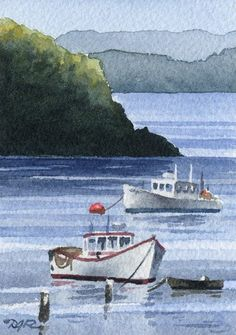 LOBSTER BOATS Watercolor Signed Fine Art Print by Artist DJ Rogers