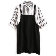 Black Stripe Stand Collar Half Sleeve Mini Dress ($54) ❤ liked on Polyvore featuring dresses, short dresses, mini dress, elbow length dresses, half sleeve dresses and elbow length sleeve dress