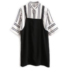 Black Stripe Stand Collar Half Sleeve Mini Dress ($54) ❤ liked on Polyvore featuring dresses, short dresses, mini dress, elbow length dresses, half sleeve dresses and elbow length sleeve dress