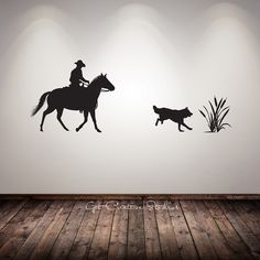 """Western 1 Silhouette of Cowboys Sitting on a Fence Vinyl Wall Decal 30 /""""x 14/"""""""