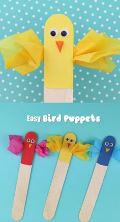 Craft stick bird puppets : Easy bird puppets to make from craft sticks with scrunched tissue paper wings. These are a fun idea for Spring or Summer, and make a cute DIY toy kids can play with Popsicle Stick Crafts For Kids, Recycled Crafts Kids, Spring Crafts For Kids, Paper Crafts For Kids, Craft Stick Crafts, Preschool Crafts, Easter Crafts, Art For Kids, Craft Sticks