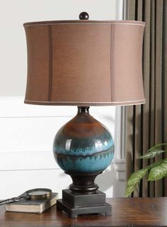 Colorful Gloss Accent Lamp Western Lamps - Glossy blue ceramic with charcoal gray and rust drips with matte black details. Round shade in chocolate bronze linen fabric with light blue trim.