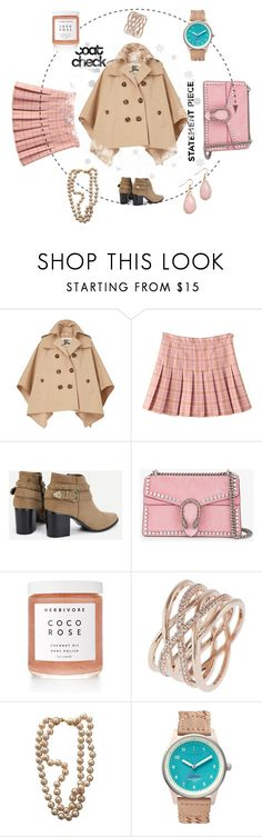 """""""I love Polyvore"""" by anelia-georgieva ❤ liked on Polyvore featuring Burberry, Gucci, Herbivore, Accessorize, Chanel, Triwa and statementcoats"""