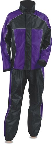 Ladies Nylon Motorcycle Rain Gear Suit - Purple & Black
