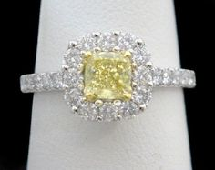 Fancy Canary Yellow Diamond Ring 1-1/2CT Total Cushion Cut 18K White Gold, Halo