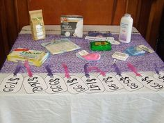 "Baby Shower Game: ""The Price is Right"" - Babies come with a whole lot of stuff. See who's best at guessing the cost of it all. (This version actually has the items displayed, not just a paper list.)"