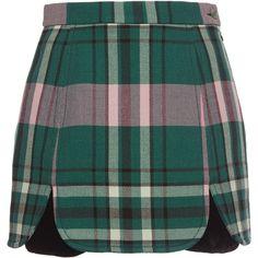 Philosophy di Lorenzo Serafini     Plaid Mini Skirt (4,055 CNY) ❤ liked on Polyvore featuring skirts, mini skirts, plaid, short mini skirts, short tartan skirt, green tartan skirt, tartan skirt and short plaid mini skirt