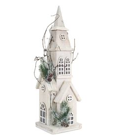 This 21'' White Pre-Lit Wooden Church by Melrose is perfect! #zulilyfinds