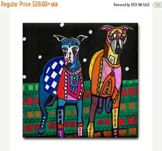 FLASH SALE- GREYHOUND art Tile Ceramic Coaster Folk Art Print of painting by Heather Galler dog