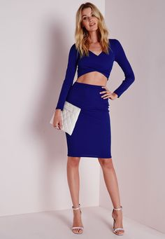 e4c3fd5ca48fc Missguided - Ribbed Midi Skirt Cobalt Blue Two Piece Outfit