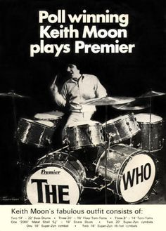 CANVAS Keith Moon Playing the Drums Art print POSTER