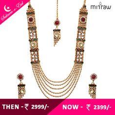Unique and stylish kundan necklace set.Shop Now- http://bit.ly/1Uh82R3  #Salaam-e-Eid