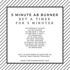 5 Minute Ab Burner | This ab workout is short on time and long on results! Hit this workout three to four times per week and you will start to see that six pack!