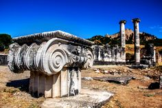 Sardes - Artemis temple with only two columns left standing. dated back to Lydian times