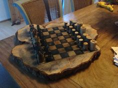 Chessboard from reclaimed wood. By Nick Platel