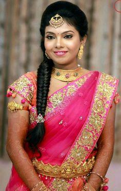 Dreamy Erode Wedding With Stunning Outfits Bridal Silk Saree, Bridal Lehenga, Saree Wedding, Beautiful Saree, Beautiful Bride, Hair Puff, Indian Bridal Wear, South Indian Bride, Half Saree