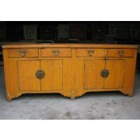 "Antique Asian Chinese Furniture, 80"" Yellow Faux Woodgrain Elm Buffet Sideboard Cabinet"