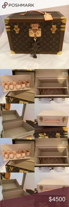 Louis Vuitton Boite Pharmacie Carry all your feminine essentials in this beautiful monogram beauty case. Removable inner bottle tray with Vachetta bottle holders. Inside is fully washable. New, never used. Comes with box, sleeper bag, 2 keys and all tags. A must for the real Louis Vuitton collector. Retails today for $6000+. Made in France. Louis Vuitton Bags Cosmetic Bags & Cases Real Louis Vuitton, Fashion Packaging, All Tags, 2 Keys, Beauty Case, Bottle Holders, Cosmetic Bag, Wine Boxes, Monogram