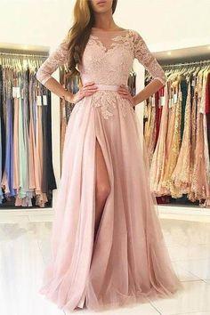 half sleeve pink tulle slit evening dress a-line long prom dress,HS126 #fashion#promdress#eveningdress#promgowns#cocktaildress