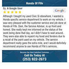 Although I bought my used Civic Si elsewhere, I wanted a Honda specific service...