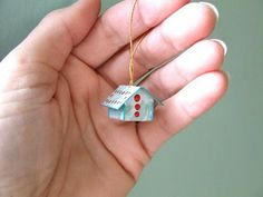Teeny Tiny House Ornament with Printable Pattern and Instructions