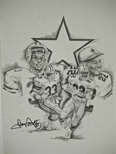 Sports Art Dallas Cowboys Art Pencil drawing Art by Ramiro Ordonez