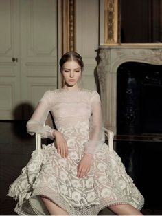Sasha Luss in a Valentino dress from the Spring Summer Haute Couture 2013 Collection Photographed by Gian Paolo Barbieri for Vogue Italia March 2013.