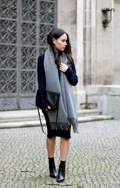 Grey scarf over dress with ankle boots | 25 Ways to Style a Classic Scarf
