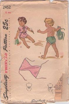 MOMSPatterns Vintage Sewing Patterns - Simplicity 2452 Vintage 40's Sewing Pattern PRECIOUS Baby Wrap Around & Tie Diaper Cover Swim Shorts ...