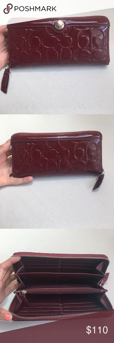 AUTHENTIC Coach Patent Leather Wallet AUTHENTIC, lightly used, no visible flaws!!! Pictures accurate. SPACIOUS, 2 compartments, coin holder, bill holder, 12 card slots. Coach Patent Leather wallet in red/burgundy color. Make an offer!!! Coach Bags Wallets