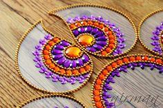 Rangoli floor art Mirror Pan Purple and Orange set of by Nirman