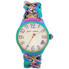 Betsey Johnson Ladies Iridescent Link Bracelet Watch ($135) ❤ liked on Polyvore featuring jewelry, watches, rainbow, heart watches, betsey johnson, charm jewelry, heart shaped jewelry and charm watches
