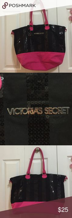Pink and Black Victoria secret tote Gently used.Pink and Black Victoria secret tote Victoria's Secret Bags Totes