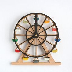 Around We Go Clock by TheMakeLab on Etsy. x Display as desk clock or wall clock, both will entertain you as you slowly watch time spin by. Cute Ferris Wheel Wooden Clock: such a cute idea for any kids room. State of Green wooden clock This is a definite s Clocks For Sale, Cool Clocks, Wooden Clock, Wooden Walls, World Clock, Displays, Diy Clock, Clock Ideas, 3d Laser