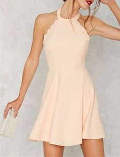 2016 Custom Cute Blush Pink Homecoming Dress,Sexy Halter Open Back Evening…