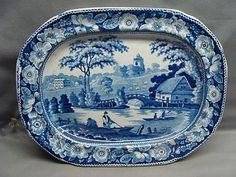 Blue-Staffordshire-Pearlware-9-1-2-Platter-Wild-Rose-Ca-1815