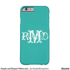 Simple and Elegant White and Teal Monograms Barely There iPhone 6 Case